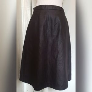 Yessica Solid Black Pleather Pleated Skirt Pocket